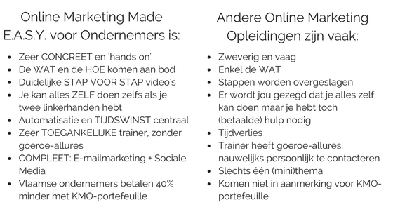 Waarin verschilt Online Marketing Made E.A.S.Y. voor Ondernemers van andere trainingen over online marketing?